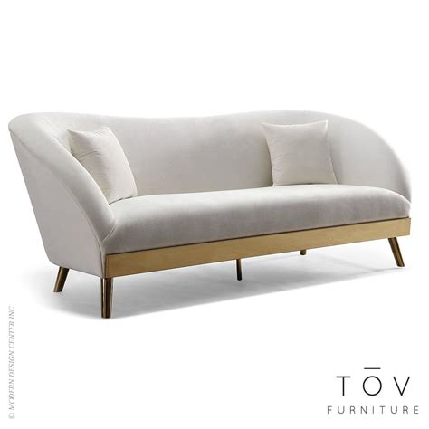 Chloe Cream Velvet Sofa By Tov