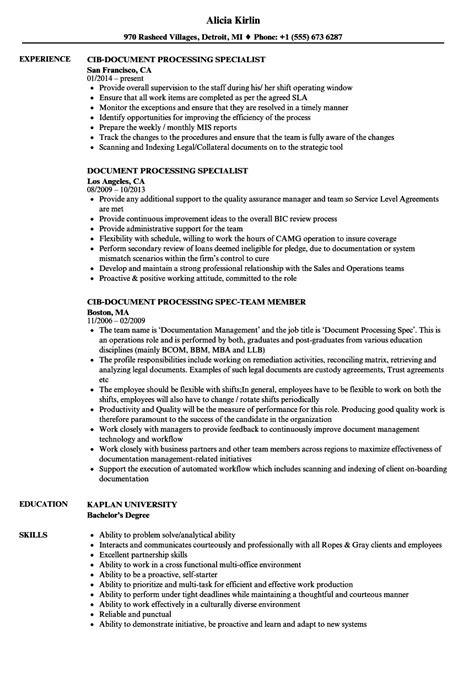 document processing resume samples velvet jobs
