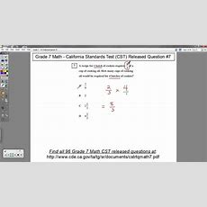 Grade 7 Math  Cst Released Question #7 (word Problems With Fractions) Youtube