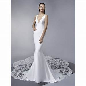 marley enzoani crepe wedding dress with v neckline and With crepe wedding dress