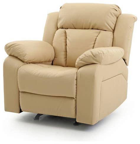 springfield rocker recliner beige faux leather recliner