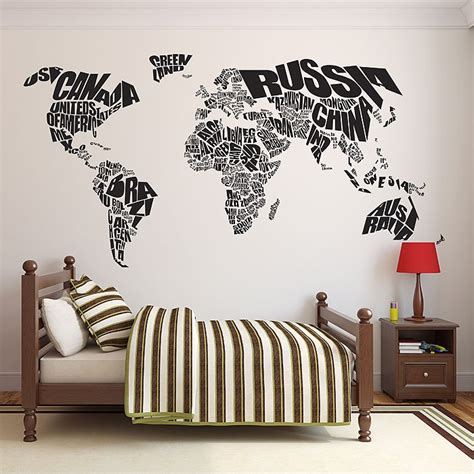 typography world map vinyl wall art decal