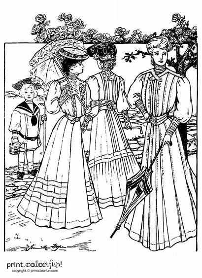 Dresses Coloring 1905 Fun Victorian Printables Edwardian
