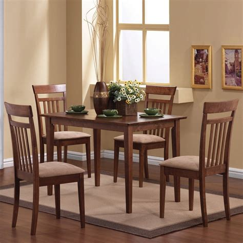 shop coaster fine furniture walnut 5 piece dining with dining table at lowes com