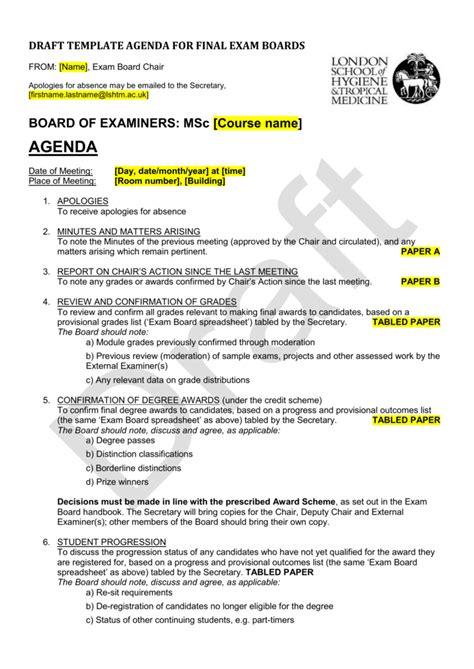 draft template agenda  final exam boards