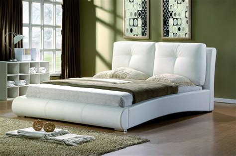 Contemporary Faux Leather Cushioned Bed Frame Black