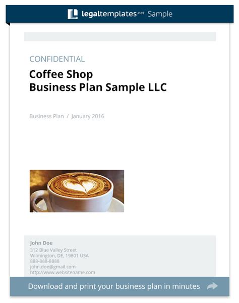 coffee shop business plan sample legal templates