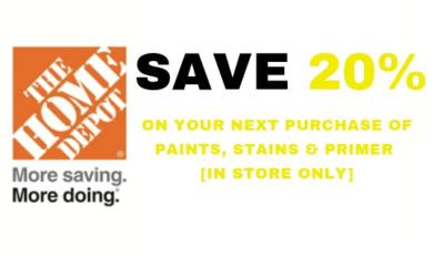 ONE (1X) 20% OFF Home Depot Printable Coupons Of Paint ...