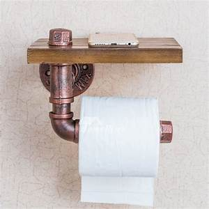 Unusual, Vintage, Wooden, Rustic, Toilet, Paper, Holder, With, Shelf