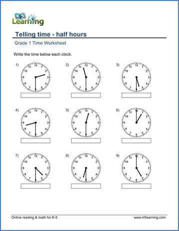 grade 1 telling time worksheet on half hours 1st grade