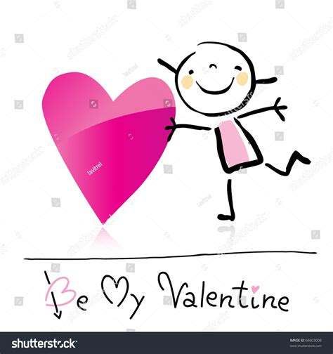 valentines day cute girl love holding stock vector