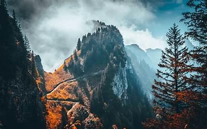 Mountain Peak Trees 4k Clouds Landscape Rock