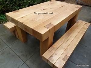 bespoke rustic oak garden tables custom made oak beam With homemade wooden garden furniture