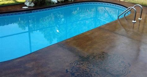 Acid stain pool deck with accent design   Pinterest   Acid