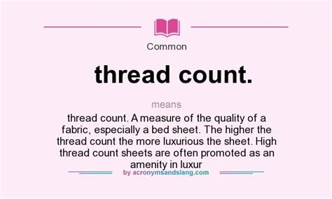 What Does Thread Count Mean?  Definition Of Thread Count