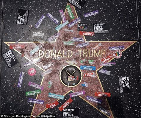 trumps hollywood walk  fame star vandalized