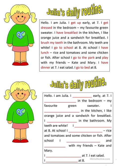 s daily routine worksheet free esl printable