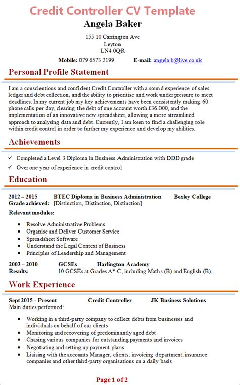 Credit Controller Resume Exles by Credit Resume Template