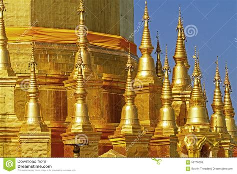 Golden Architecture Sharp With Sky Stock Photo  Image Of