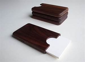 Handmade wooden business card holder gadgetsin for Wooden business card holders