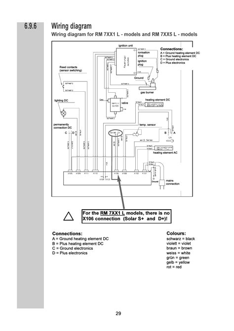 wiring diagram connections colours dometic rm 7401 l user manual page 29 30