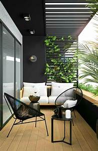 Modern, Balcony, Design, With, Black, Table, Chairs, And, White