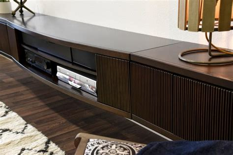 Floating Wall Mount Entertainment Center TV Stand - Curve