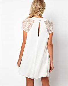 lyst love swing dress with lace insert in white With robe trapeze cintrée