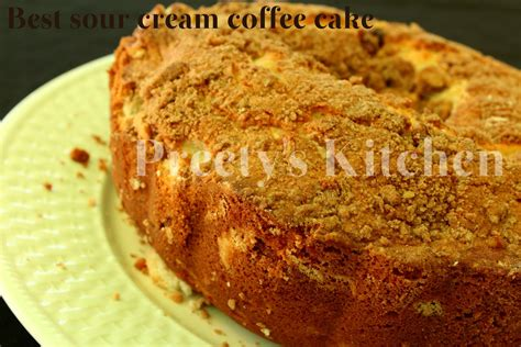 Add the eggs 1 at a time, then add the vanilla and sour cream. Preety's Kitchen: Best Sour Cream Coffee Cake With Streusel Topping (Ina Garten's Recipe)