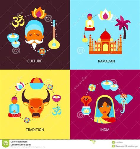 india flat set stock vector image
