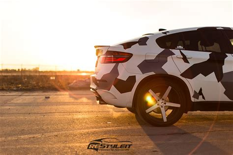 arctic camo bmw x6 vehicle customization shop vinyl car wrap car wrap in toronto miami