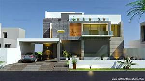 3d, Front, Elevation, Com, Beautiful, Modern, Contemporary, House, Elevation, 2015, House, Plan