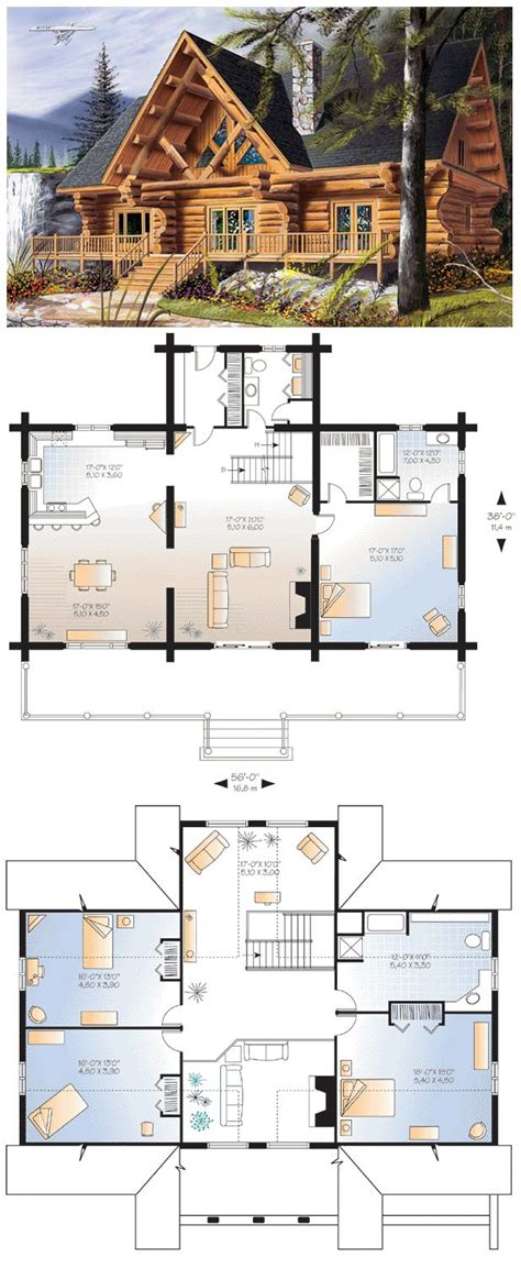 large log cabin floor plans cabin craftsman log house plan 64969 fireplaces front porches and logs