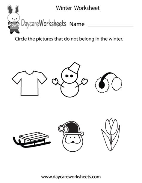 free preschool winter worksheet