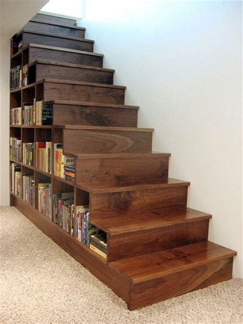 building a bookcase wall bookshelf built into stairs perfect for the basement