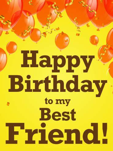 orange balloon happy birthday card   friends