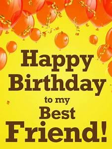 Orange Balloon Happy Birthday Card For Best Friends