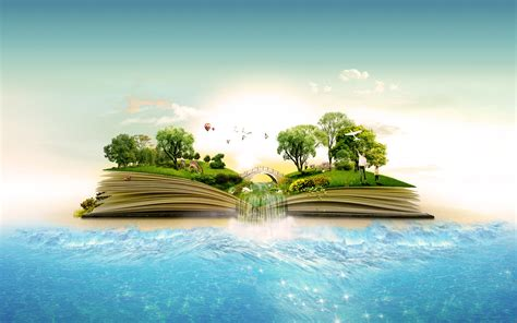 Manipulation landscapes islands books nature trees forest