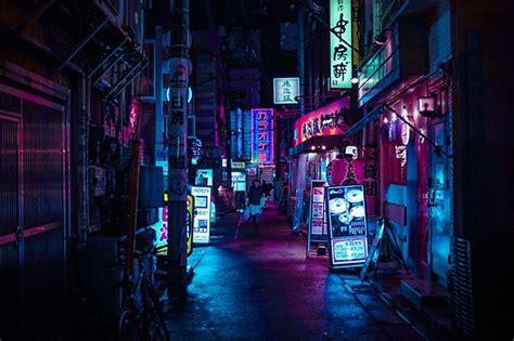 japanese neon night poster  almafa redbubble
