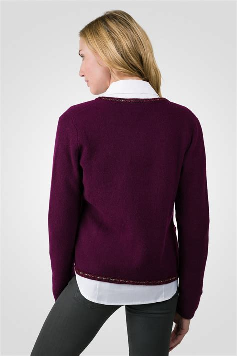 plum sweater plum lace trim crop cardigan sweater j
