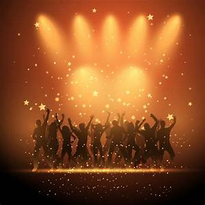 Silhouettes of party people dancing on a starry background ...