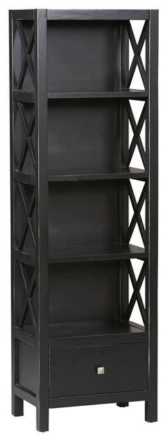 4 Shelf Tall Narrow Bookcase In Antique Black