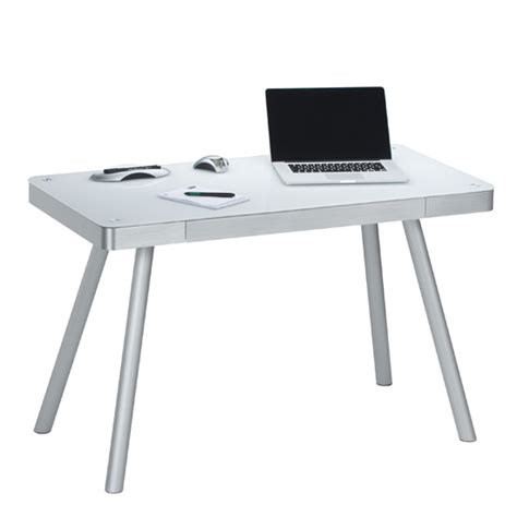 glass desk metal legs futura computer desk in white glass top with metal legs