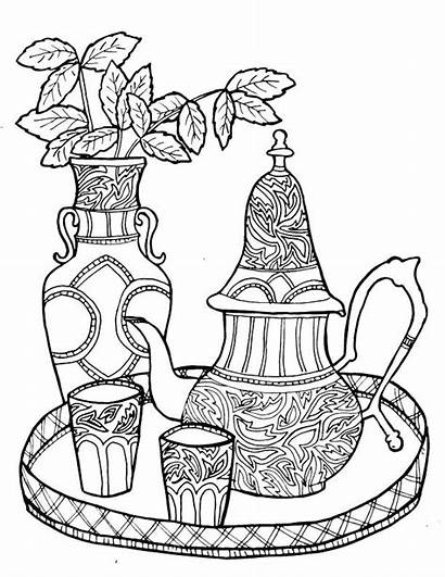 Coloring Tea Pages Printable Adult Teacup Adults
