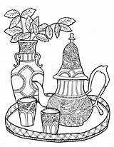 Coloring Tea Pages Printable Teacup Adult Adults Coffee Morocco Sheets Moroccan Colouring Drawing Flag Drawings Iceland Sweet Fun Books Cup sketch template