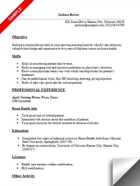 Health Aide Resume by Home Health Aide Resume Sle Resume Exles
