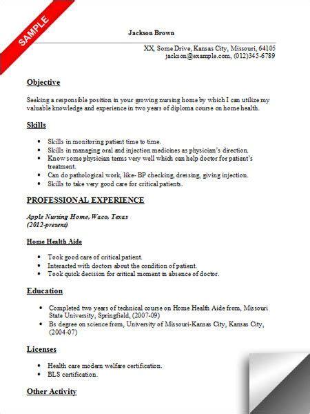 Bsn Resume Exles by Home Health Aide Resume Sle Resume Exles Sle
