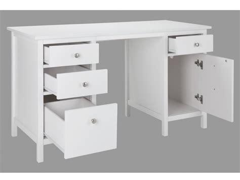 bureau pin blanc bureau albane 4 tiroirs 1 porte pin massif blanc