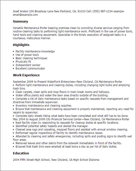Utility Maintenance Worker Resume by Professional Maintenance Porter Templates To Showcase Your Talent Myperfectresume