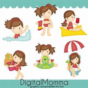 Beach Kids Clipart Summer Beach Clipart Personal door ...